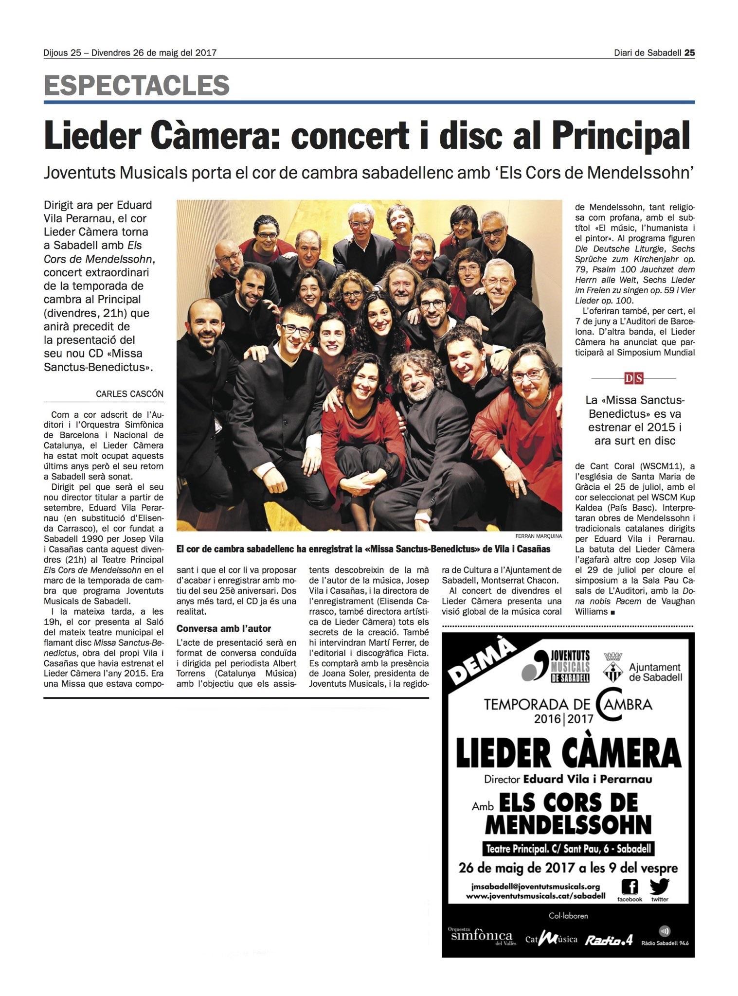 Presentació del CD del Cor Lieder Càmera a Sabadell