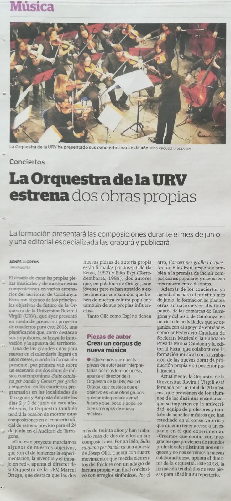 Orquestra URV encarrega i estrena nova música